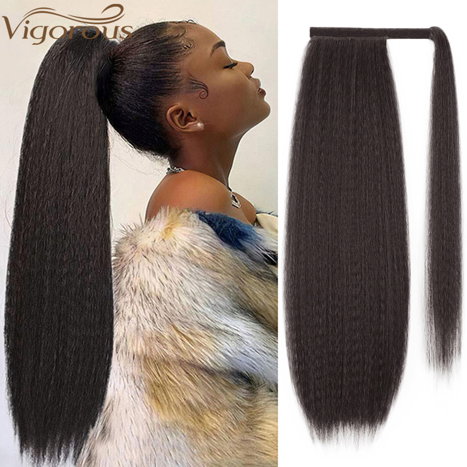 Vigorous Long Kinky Straight Drawstring Synthetic Ponytail for Black Women 24 Inches Magic Paste Clip in Hair Extensions