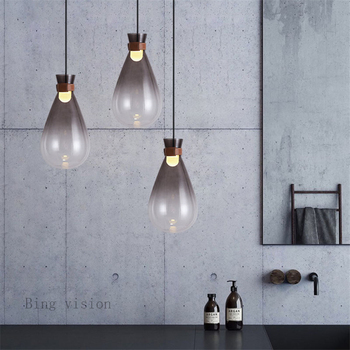 Nordic post-modern art glass chandelier leather bed bedroom stylist example room bar small droplight