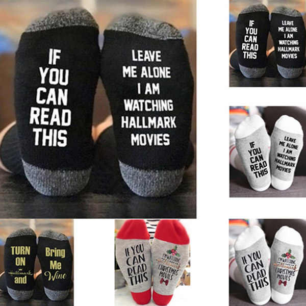 1Pair Hallmark Movies Soft Socks Christmas Letters Printed Women Winter Warm Socks Gifts NGD88