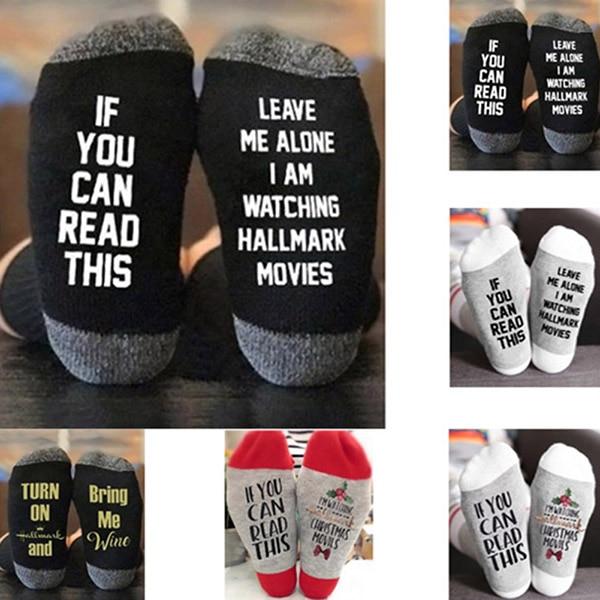 1Pair Hallmark Movies Soft Socks Christmas Letters Printed Women Winter Warm Socks Gifts NGD88