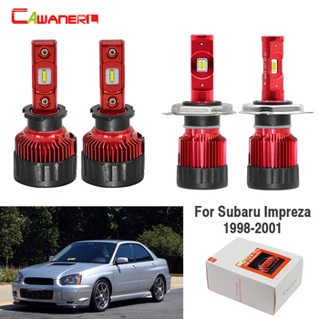 Cawanerl 4 X Car H3 H4 LED Lamp Headlight Hi/Lo Beam + Fog Light White 60W 9000LM 12V For Subaru Impreza 1998 1999 2000 2001