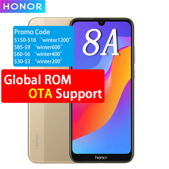 Honor 8A Smartphone 2GB/3GB RAM 32GB/64GB ROM Android 9.0 Octa-core Face ID 6.09'' Fullview 1560X720 4G LTE Ce ll Phone