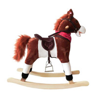 Kids Plush Ride On Pony Rocking Horse Wooden Toy with Neigh Sound Dark Brown Funny kids gift