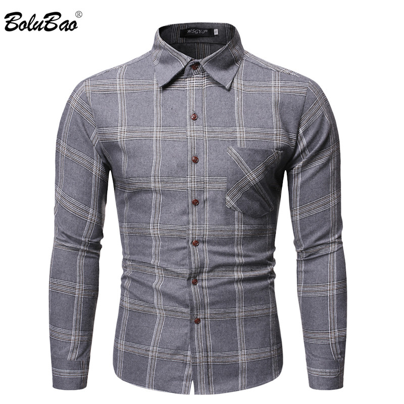 BOLUBAO Fashion Brand Men Plaid Shirts Men's Quality Long Sleeve Shirts Male Business Casual Wild Shirt Tops