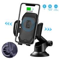 10 w qi sem fio carregador de carro automático ar ventilação suporte do telefone carregamento rápido suporte montagem para iphone xs xr x 8 samsung