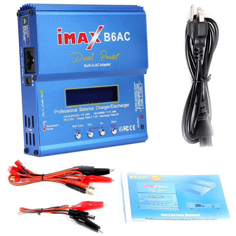 IMAX B6AC 80W Charger Baterai Lipo NiMH Li-ion Ni CD Digital RC IMAX B6 Lipro Balance Charger Discharger + Power Adapter