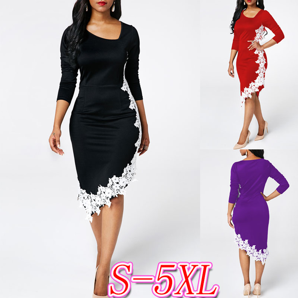 Vintage Lace Patchwork Irregular Pencil Dress Women Elegant Office Lady Plus Size Casual Long Sleeve Slim Autumn Midi PartyDress
