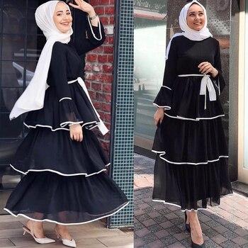 Muslim Dress Women Dubai Abaya Ruffles Fashion Full Sleeve Casual New Ladies Islamic Clothes Moroccan