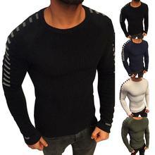 Мода мужчины плиссе свитер шею шею длинный рукав трикотаж тонкий подходит пуловер