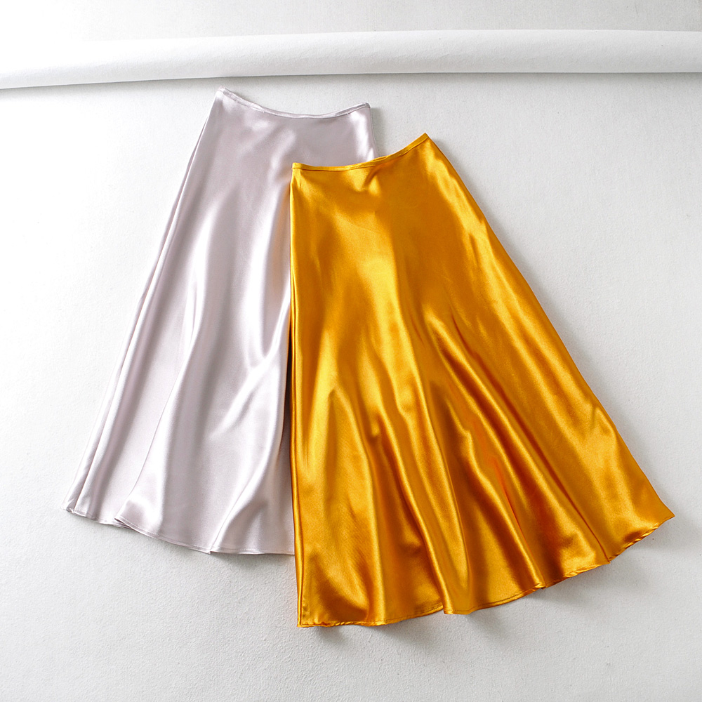 2020 New Women Vintage Solid Color Soft Satin Midi Skirt Faldas Mujer Ladies Chic Elastic Waist A Line Mid-calf Skirts QUN599