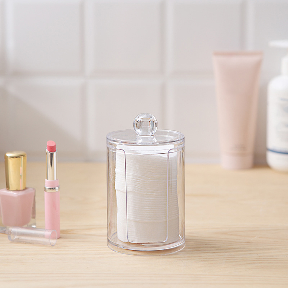 Acrylic Multifunctional Round Makeup Organizers Transparent Cotton Swabs Stick Storage Box Organizer Plastic Cosmetic Organizers