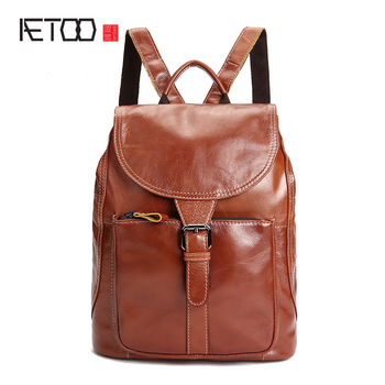 AETOO  Ladies shoulder bag leather backpack oil wax head layer cowhide college wind bag large capacity female package luodun 2018 new backpack female shoulder bag leather fashion korean wave simple bag college wind mini bag ladies bag