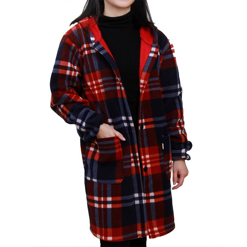 Overclothes Adult Men Long Sleeve Apron Brushed And Thick Flannel Work Clothes Down Feather Women's Adult Warm Protective Clothi