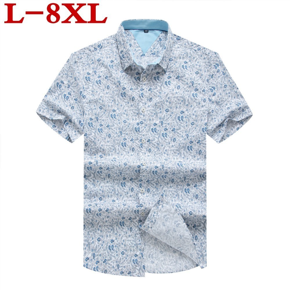 Plus Size 8XL Mens Hawaiian  Shirt  Male Casual Camisa Masculina  Printed Beach Shirts Short Sleeve Brand Clothing Free Shipping