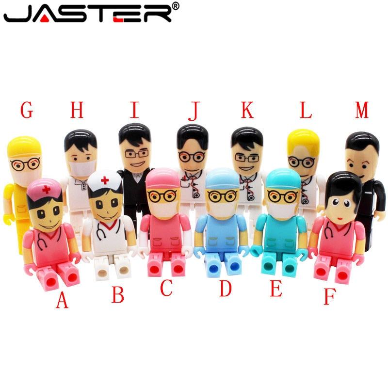 JASTER Customer LOGO Mini Doctors Nurse USB Flash Drive Dentist Pen Drive Gift Cartoon Pendrive 4GB/8GB/16GB/32GB U Disk