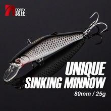 NOEBY Minnow leurre de pêche appât dur NBL9447 Wobblers 80mm 25g coulant Super Laser effet japon crochets Minnow leurres multicolore