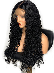 CARA 360-Lace-Frontal Wig Hair Human-Hair-Wigs Water-Wave Curly Pre-Plucked Natural-Black