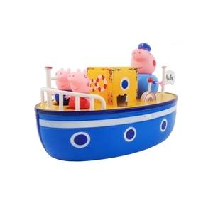 Image 2 - חדש פפה חזיר שיט ג ורג דגם ורוד חזיר משפחה סבא פעולה דמות מצוירת צעצוע אמבטיה סט ילדים הטוב ביותר צעצוע מתנה