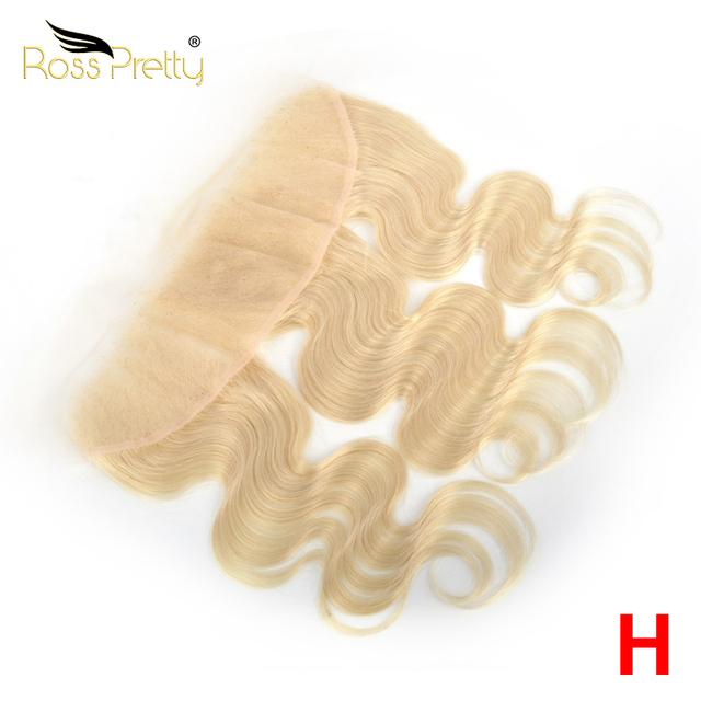 Ross pretty Body koronkowa fala Frontal 8-22 Cal kolor 613 wysoki stosunek Remy malezyjskie naturale włosy blond 13×4 przód