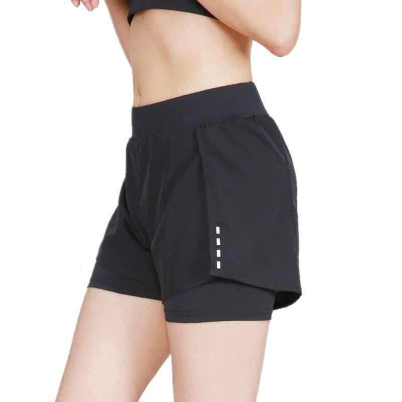 Reflective 2 In 1 Women's Running Shorts Breathable Quick Dry Elastic Spandex Jogging Marathon Gym Fitness Sport Yoga Shorts