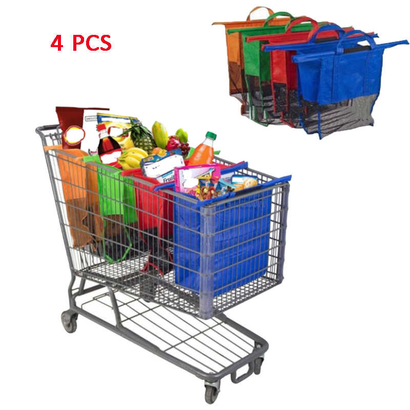 Thicken Cart Trolley Supermarket Shopping Bags Foldable Reusable E7Z2