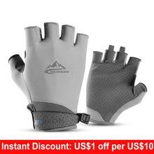 Fingerless Fishing Gloves for Men Women UV Sun Protection Non-slip Half Finger Glove for Fishing Paddling Sailing Rowing недорого
