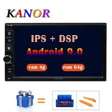 KANOR Восьмиядерный ОЗУ 4 Гб ПЗУ 64 Гб 2 Din Android 9,0 Универсальный автомобильный аудио стерео радио с gps WiFi gps навигация видео головное устройство