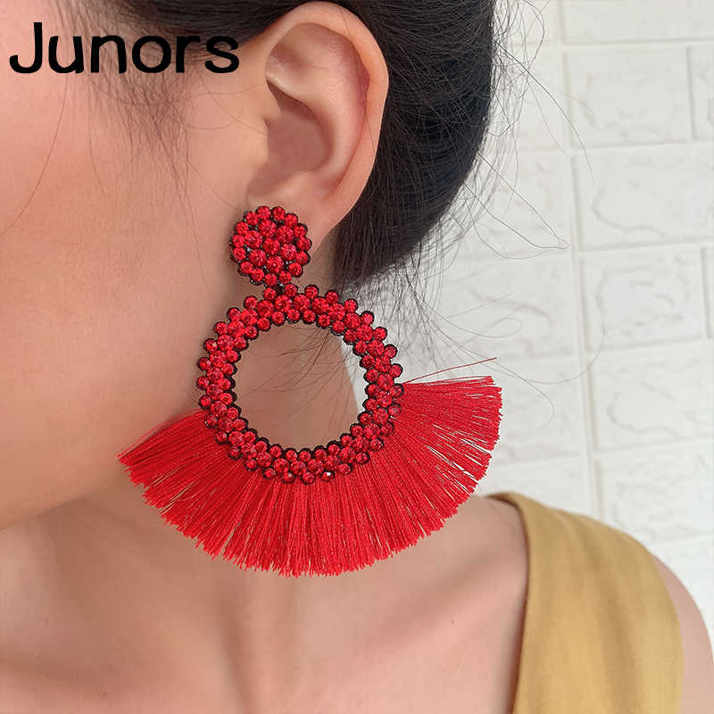 luxe round tassel earrings for women gadis boho tassel 2019 women earring hanging Colors luxury fashion jewelry earrings female