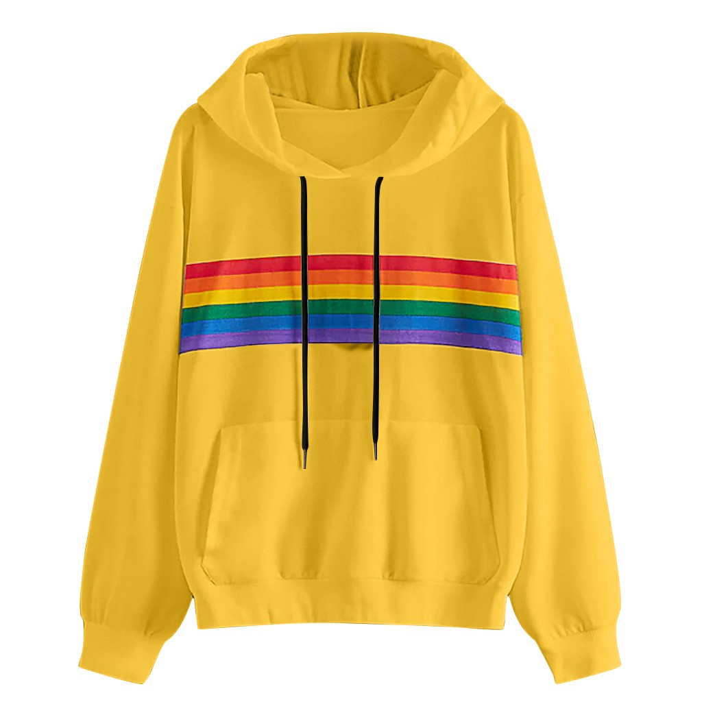 Jaycosin Fashion Women Simple O-Neck Rainbow Print Sweatshirt Stylish Long Sleeve Comfortable Casual Pullover Tops Blouse 926#3