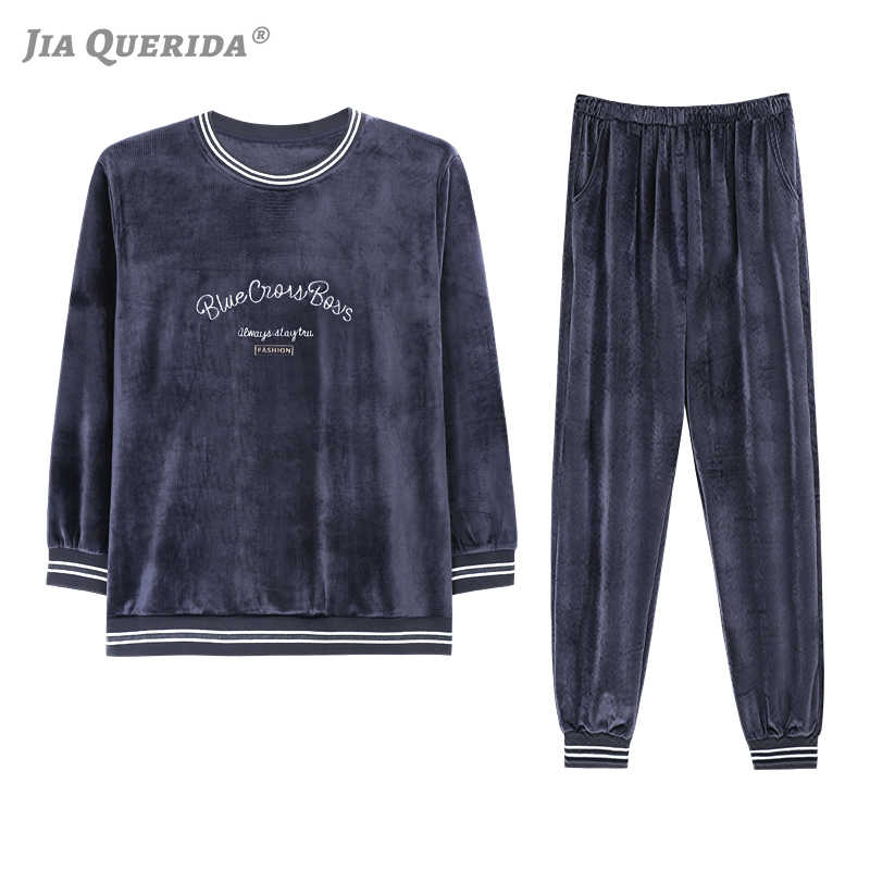 Pijama Mans Loungewear 벨벳 잠옷 2020 새로운 스마트 캐주얼 남성 Homewear 풀오버 긴 소매 바지 두 조각 벨벳 Nightwear