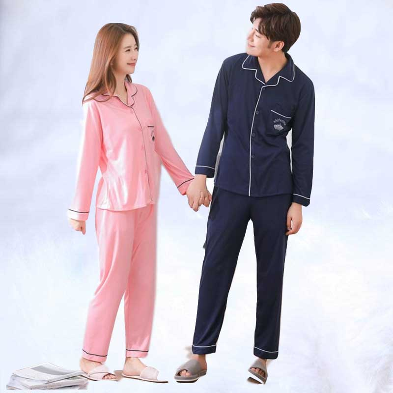 2019 Spring And Autumn Couples Cotton Soft Comfortable Pajamas Sets For Men Lounge Home Wear Clothing Women Pajamas Cotton