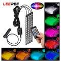 LEEPEE 24/36/48 светодиодный автомобиль Атмосфера RGB лампа для ног для естественного освещения светодиодный полосы украшения светильник Подсветк...