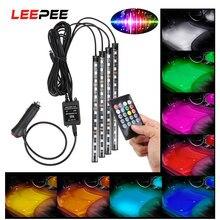 LEEPEE 24/36/48 LED Car Foot lampada ambientale decorazione luce RGB LED striscia luce retroilluminazione controllo musica atmosfera lampada luce