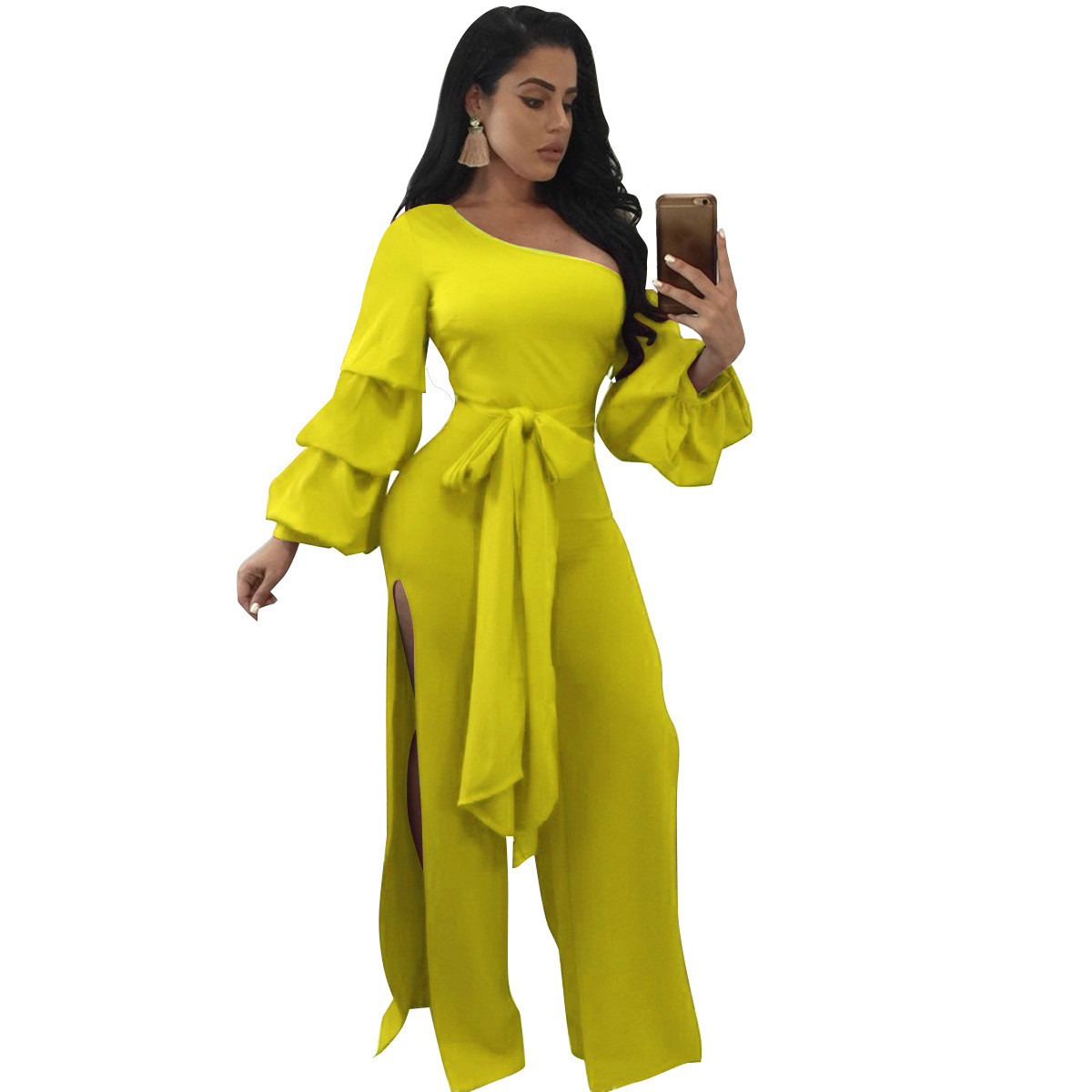 2020 Autumn New Arrival Slim-fit Double-sided Split Lantern Sleeves Jumpsuit Skew Collar With Waist Belt Yellow Red Black Blue