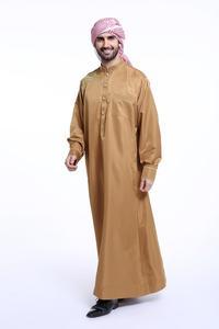 Image 2 - Müslüman suudi erkek elbise Thobe Dishdasha Thoub İslam namaz Abaya arapça Kaftan uzun kollu elbise Jubba giyim orta doğu yeni