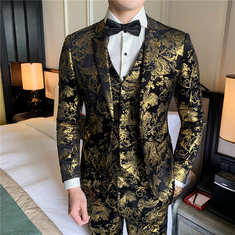 S-5XL Men's Dress Three-piece Wedding Party Party Clothing Men's Suit Jacket With Pants And Vest 2019 New Male Suits