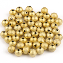 Gold Plated Stardust Acrylic Round Ball Spacer Beads Charms Findings for Jewelry Making 4-12mm Frosted Ball End Seed Beads
