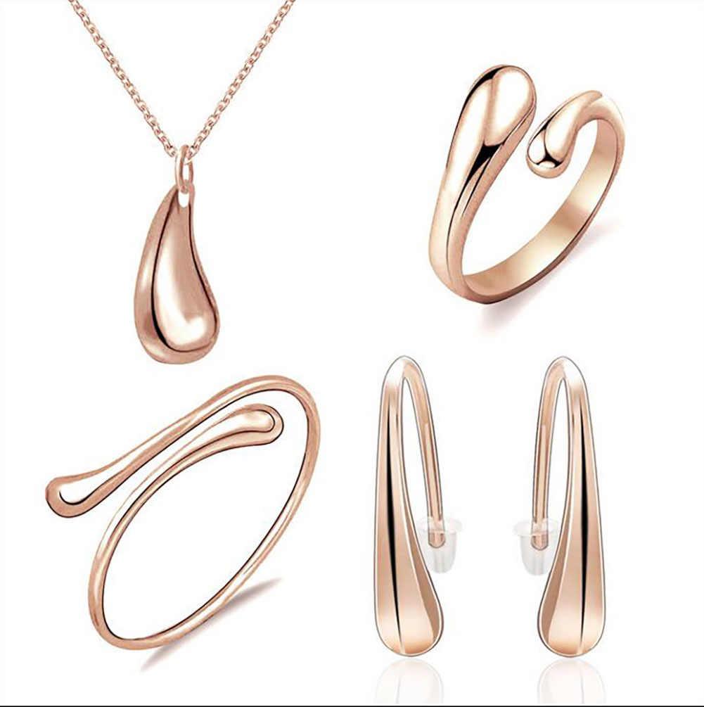 925 bijoux ensemble de bijoux plaqué argent, ensembles de fête nuptiale pas cher, mode argent Waterdrop collier bracelet boucle d'oreille anneau quatre pièces
