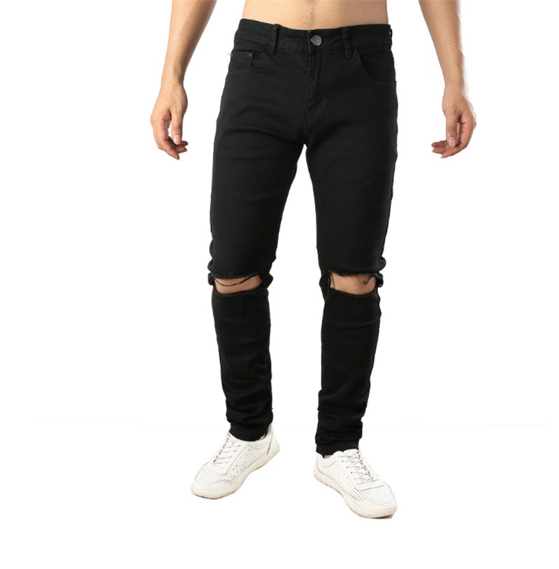 2019 fashion mens destroyed jeans hole casual pants jogger jeans rock knee cut mouth hole zipper jeans jumpsuit jeans in Jeans from Men 39 s Clothing