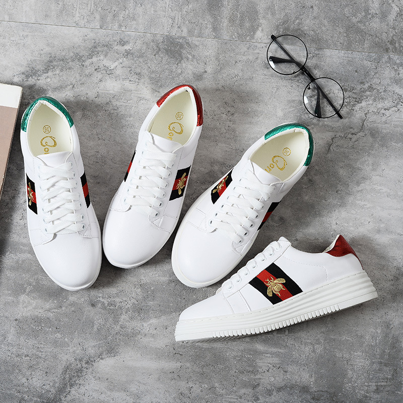 Celebrity Inspired Embroidered Small Bee White Shoes Men's And Women's Spring 2018 New Style Korean-style Versatile Mandarin Duc