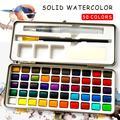 50 cores sólido pressionado pó aquarela conjunto básico neone glitter pintura aquarela para desenho arte pintura suprimentos