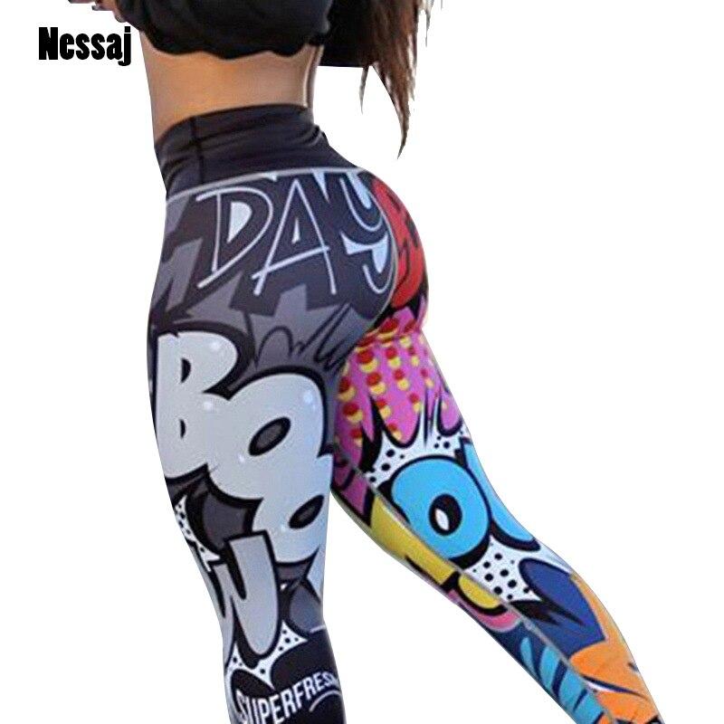 Женские леггинсы с высокой талией Nessaj, повседневные длинные штаны с принтом в виде героев мультфильмов и пуш ап, спортивная одежда|Легинсы|   | АлиЭкспресс