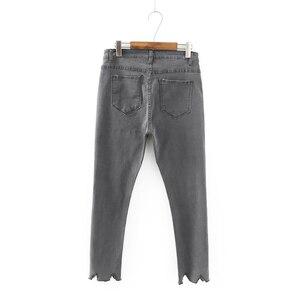 Image 3 - GOPLUS קוריאני סגנון נשים ג ינס גדול גודל גבוהה מותן אפור שחור ג ינס סקיני ג ינס אישה מכנסי עיפרון גרנדה Taille Femme C9561