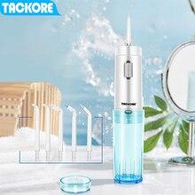 Tackore USB Recharge Oral Irrigator dental Portable Water Flosser Foldable Jet IPX7 210 Ml tank