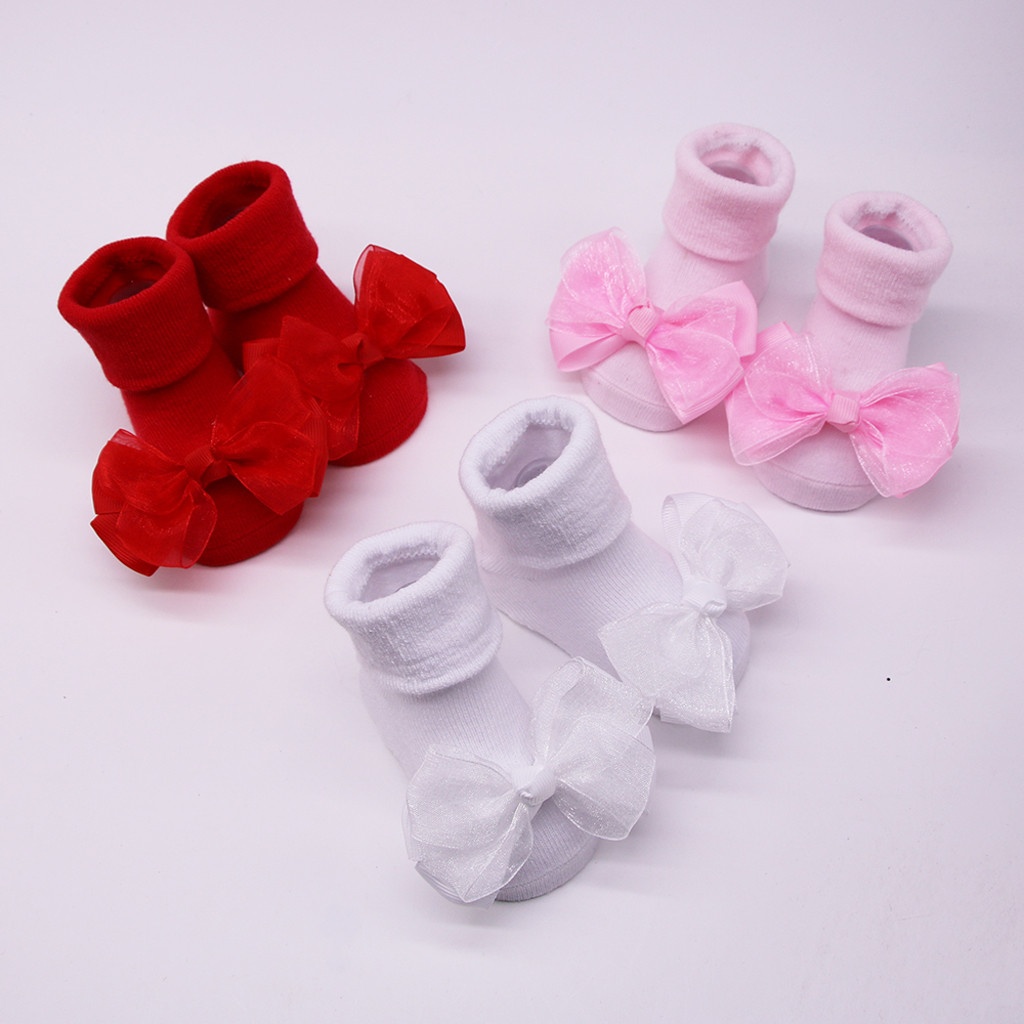 Children's Socks носки детские Puericulture Calze Antiscivolo Baby Infant Socks +1PC Hair Belt Toddler Girls Bow Anti-slip H5