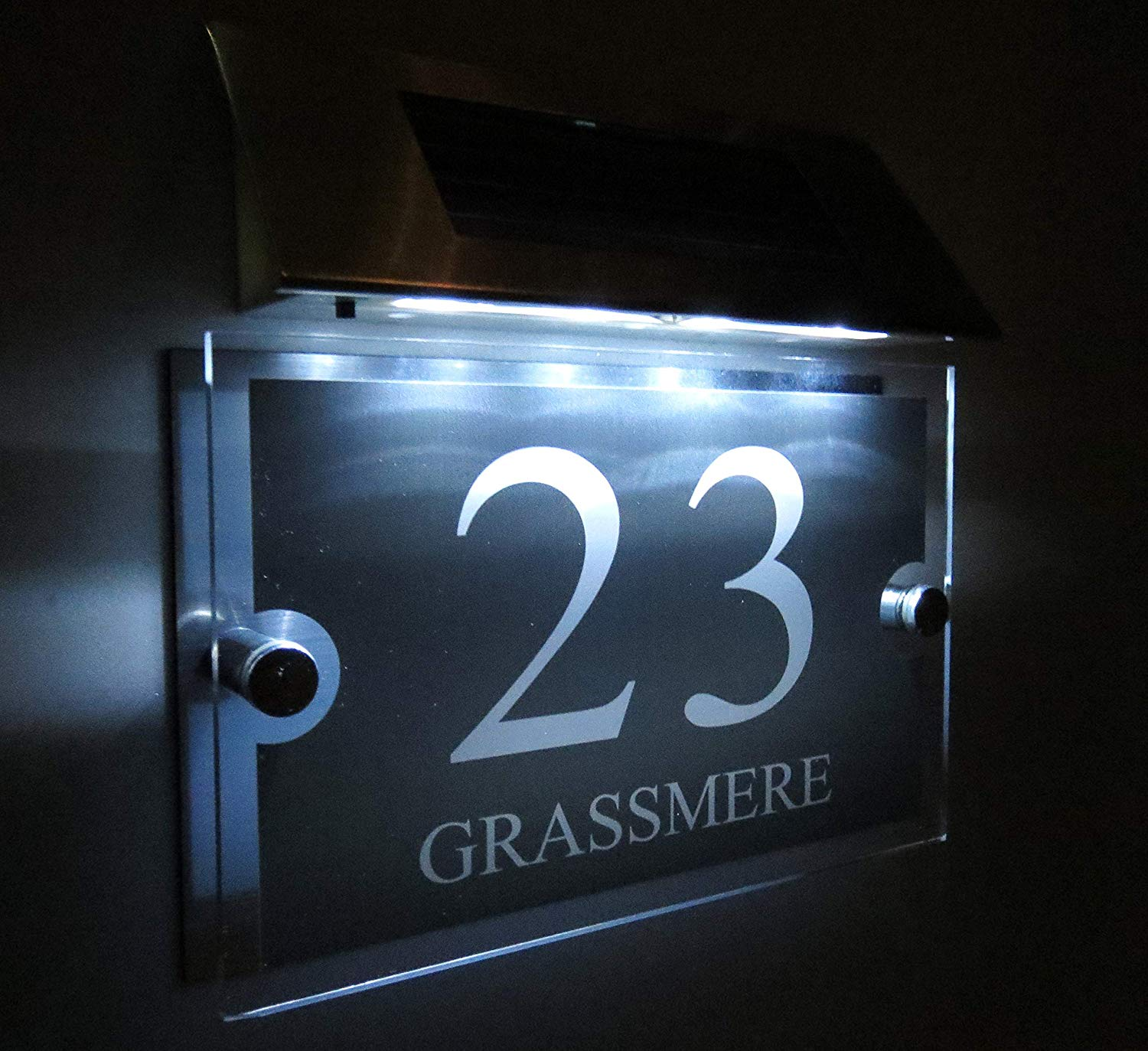 House number Personalised! Modern House Signs Plaques Door Numbers 1-9999 Street Name Solar Light LED Door sign