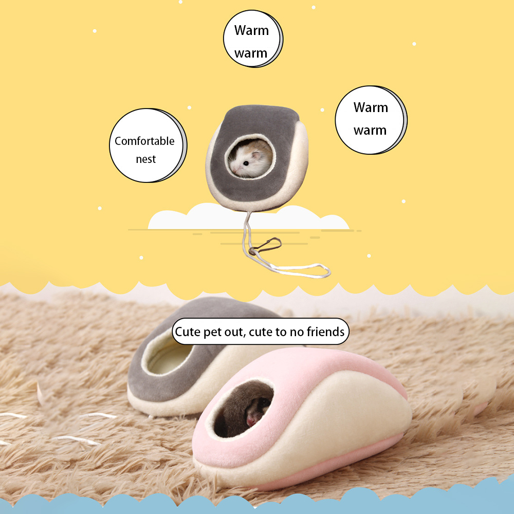 2 Color Sugar Glider Hamster Bed Nest Mouse Shape House Small Animal Winter Warm Bedding Supply 4