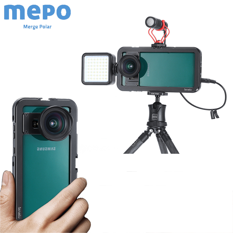 Photography Vlog <font><b>Case</b></font> Magnetic Metal Cage for <font><b>Samsung</b></font> <font><b>S10</b></font> Plus Smartphone <font><b>LED</b></font> Light Microphone Tripod Cold Shoe Mount Bracket image