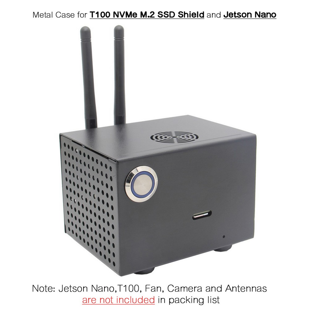NVIDIA Jetson Nano T100 Metal Case With Power & Reset Control Switch For Jetson Nano Developer Kit And T100 NVMe M.2 SSD Shield