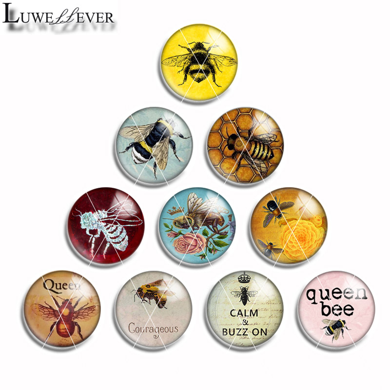 12mm 10mm 14mm 16mm 20mm 25mm 481 Bee Mix Round Glass Cabochon Jewelry Finding 18mm Snap Button Charm Bracelet